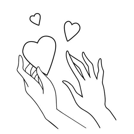 Line art vector illustration of love and compassion. Hands holding a heart black and white isolated on white background. Valentine day, romantic holiday, donor, charity, philanthropy design element Illustration