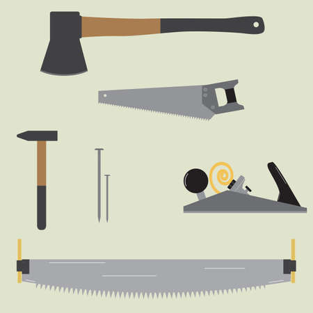 shavings: Flat vector carpentry tools isolated on a light background. Set of tools which can be needed during any carpentry work