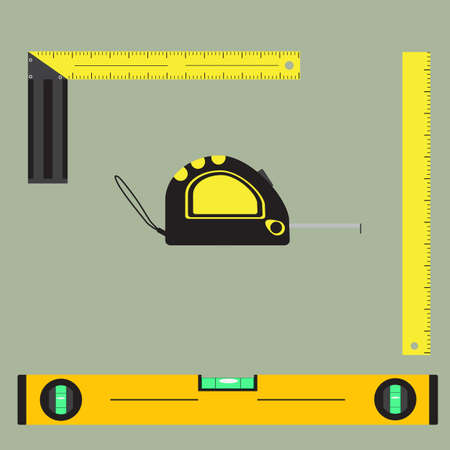 Flat vector images of measuring tools isolated on a light background