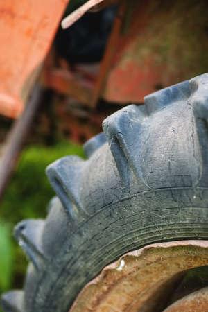 power giant: Fragment of big tire, macro shot, selective focus, vertical Stock Photo