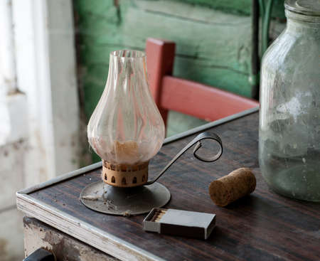 Vintage dusty candle holder with other stuff, selective focus Stock Photo
