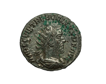 isilated: Ancient roman silver coin of Trebonianus emperor isilated on white, macro shot Stock Photo