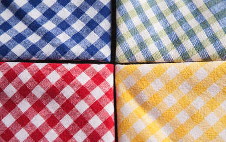 Colored checkered napkins overhead view, macro shot