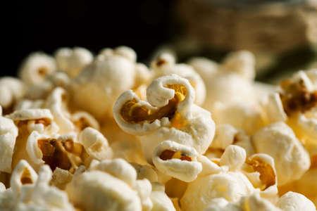 Pile of popcorn closeup macro shot, selective focus.