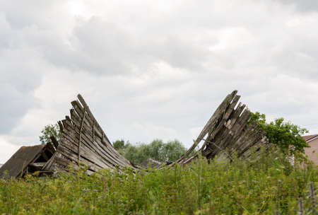 damaged roof: The failed roof of an abandoned wooden building among tall green grass, selective focus