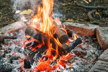 큰 불꽃과 그것에 장작을 잔뜩 모은 캠프 파이어 스톡 콘텐츠