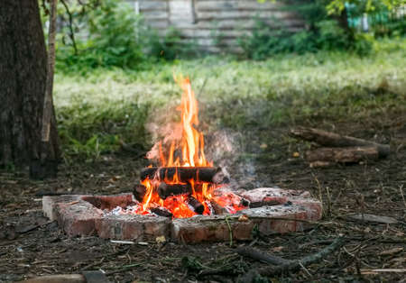 Burning firewoods in campfire with red bricks around it Stock Photo