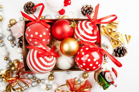 set of different christmas decorations closeup shot top view stock photo 92058843 - Different Christmas Decorations
