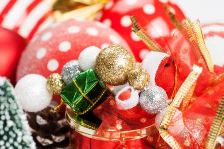 Set of different christmas decorations closeup shot