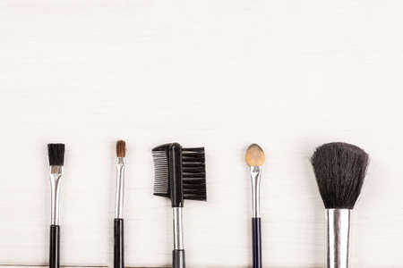 Items for make up on a white background, top view, copy space Standard-Bild
