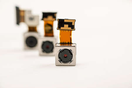 Smartphone camera modules on a white background, closeup Stok Fotoğraf - 92721811