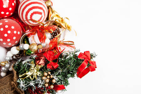 set of different christmas decorations closeup shot top view flat lay stock photo - Different Christmas Decorations