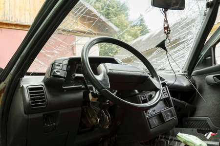 Interior of a car, damaged in the accident Stock fotó