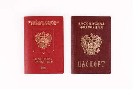 Two Russian passports on white background, closeup shot