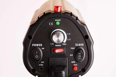 Professional studio lighting equipment control elements closeup shot