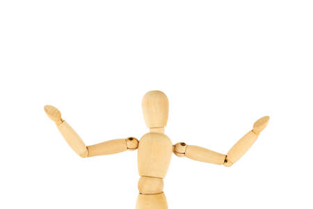 Wooden dummy hands wide open isolated on white