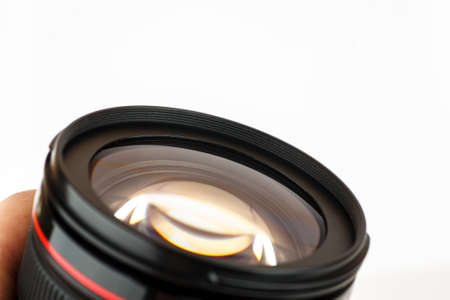 Zoom lens on a white background, closeup