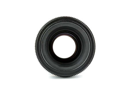 Black photo lens isolated on white background