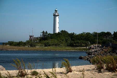 sticking to: Large Erik lighthouse sticking up among the trees north Oland
