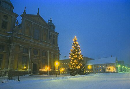 Kalmar Cathedral with christmas tree a winter evening Stock Photo