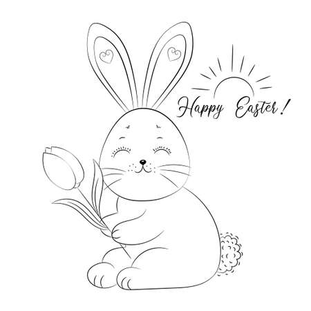 Hand drawn cute bunny. Happy Easter card. Black and white sketch rabbit. Antistress coloring book page for adults. Vector illustration. Vektorové ilustrace