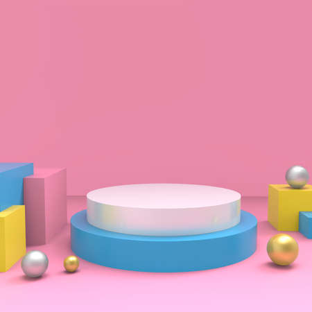 Product setting podium white abstract minimalistic geometry, minimal light interior, object placement, abstract background room, 3d rendering, Reklamní fotografie