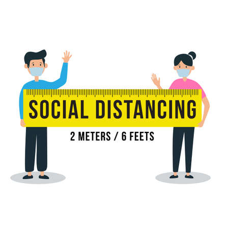 Social distancing sign with people apart from each other. Ruler showing correct distance or gap between them. Vecteurs