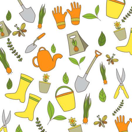 Nature and Garden Hand Drawn Background Иллюстрация