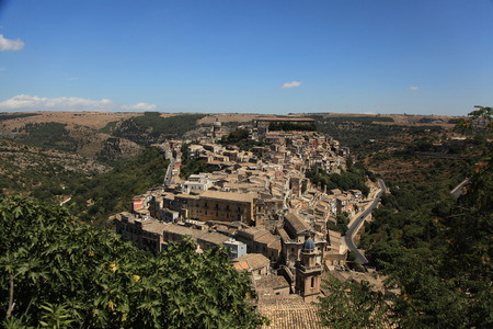 ragusa: Panoramic topside view to the Ragusa town in Sicily