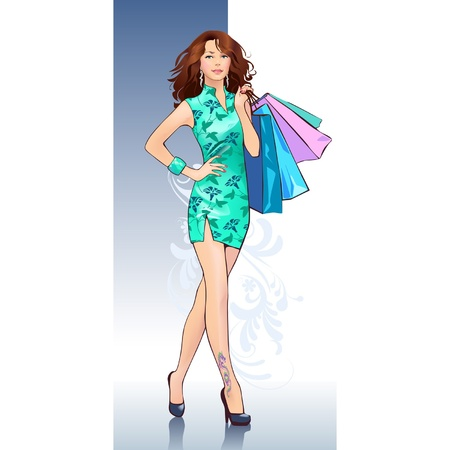 beautiful female shoppers Vector