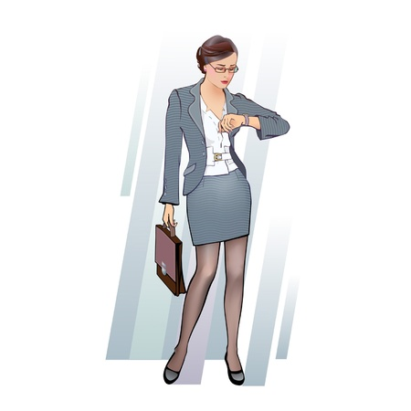 costume jewellery: business woman with briefcase, looking at the clock