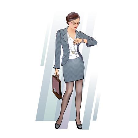 sexualidad: mujer de negocios con maletín, mirando el reloj Vectores