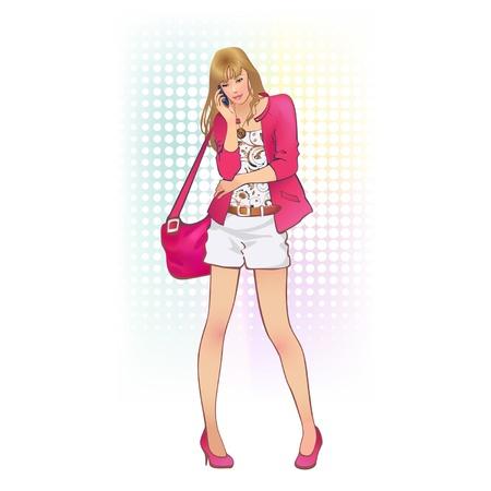 blusa: una chica con un bolso y un teléfono móvil
