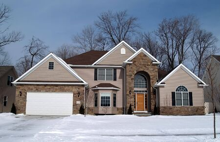 A newly constructed home in a suburban development