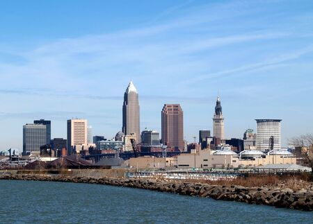 Downtown Cleveland Skyline from a waterfront park Stock Photo