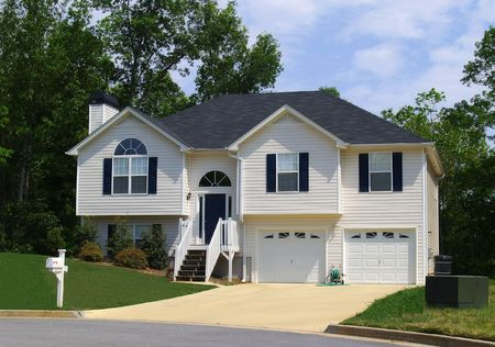 suburbs: A newly constructed home in a suburban Atlanta development