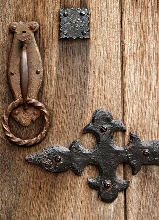 Medieval door latch and ironwork up close