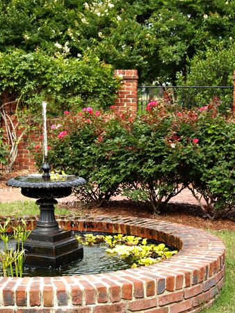 treed: A water fountain sits in the middle of a pretty landscaped garden
