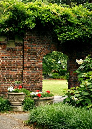 Brick doorway to a secret garden