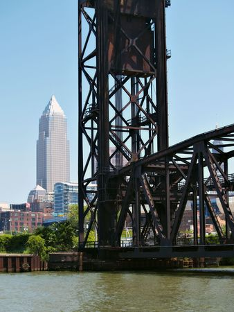 Bridge over the water with a view of downtown Cleveland, Ohio in the background