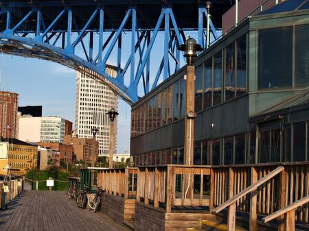 Boardwalk on the Cuyahoga River in downtown Cleveland, Ohio