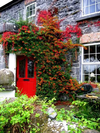 Beautiful stone bed and breakfast located in Athenry, Ireland with a charming red door