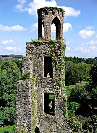 Toren die in klimop op Blarney Castle in Ierland Stockfoto