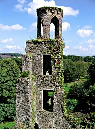 Tower covered in ivy at Blarney Castle in Ireland