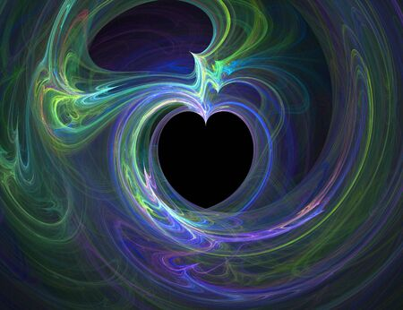 Computer generated fractal illustration of a heart made from electric light patterns