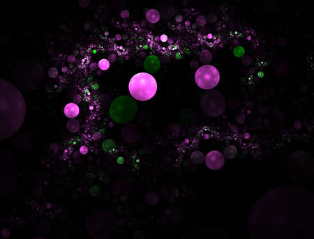 Computer generated fractal illustration of pink and green bubbles floating on black Stock Photo