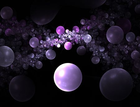 Computer generated fractal illustration of a universe of bubbles in pink and lavendar