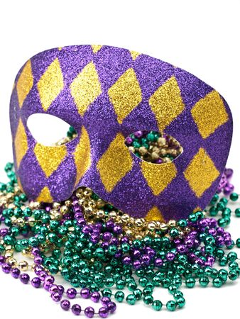 colorful beads: Mardi Gras Mask and beads on white