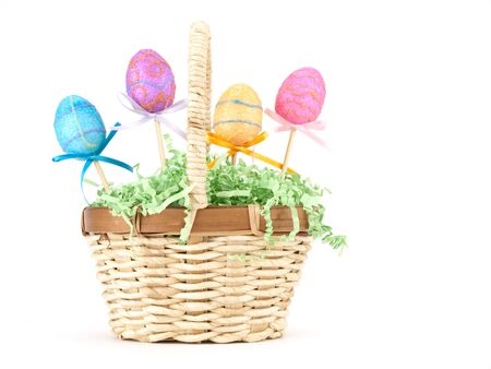Easter Basket on white with copy space