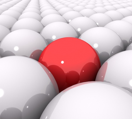 3d red ball of white balls Stock Photo - 18134089